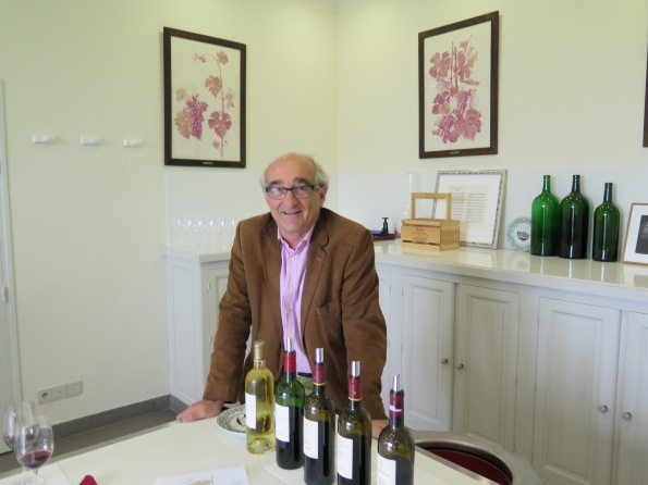 Charles Chevallier, Director of the Baron de Rothschild estate, welcomes Frank Ward at Château Lafite.