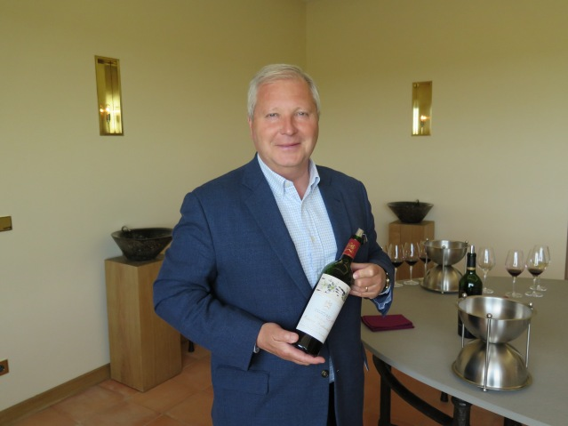 The genial Philippe Dhalluin, in charge at Château Mouton Rothschild, about to pour a great vintage of that renowned First Growth.