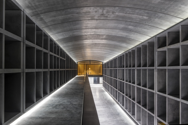 The futuristic cellars for the maturation of countless bottles of First Growth Château Margaux.
