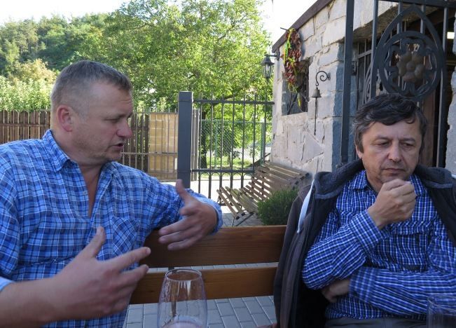 Wine-maker Lubos Oulehla (left), composer Pavel Zemek Novak (right).